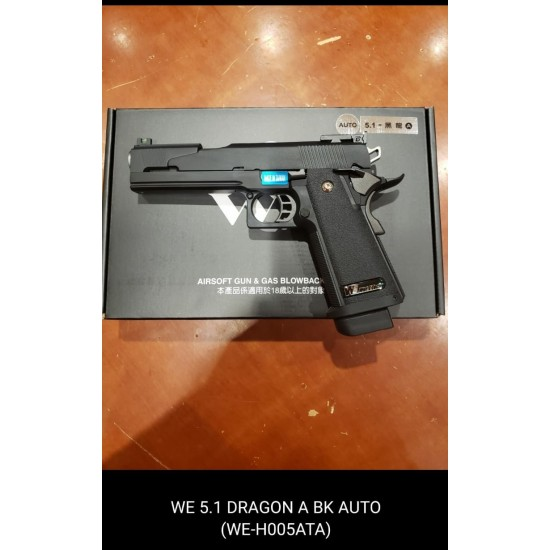WE HI-capa 5.1 Dragon A Black GBB Pistol (Full Auto version)