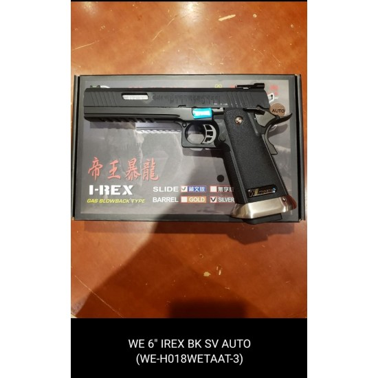 "WE HI-capa 6"" IREX GBB Pistol (Full Auto version / Black / Silver barrel )"