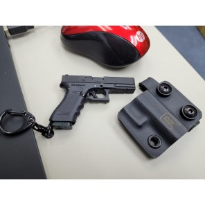 Mini Keychain G17 Dummy with Kydex Holster (Silver/Tan )