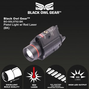 Black Owl Gear(BOG) SSL 0702 PISTOL LIGHT WITH RED LASER (BLACK)