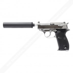 WE Short Outer Barrel P38 GBB Pistol with Metal Silencer(Silver)