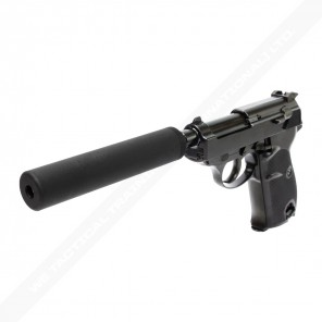 WE Short Outer Barrel P38 GBB Pistol with Metal Silencer(Black)