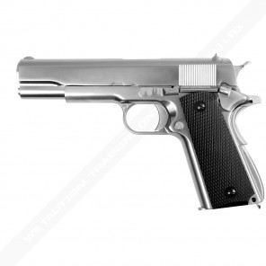 1911 Matte Chrome full metal-checker Black Grip-1911 SV Full Marking
