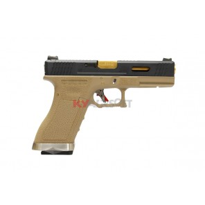 WE G17 T6 -  BK Slide / GD Barrel / TAN Frame