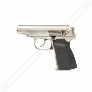 WE Metal MAKAROV GBB Pistol with Silencer Silver - Full Makring