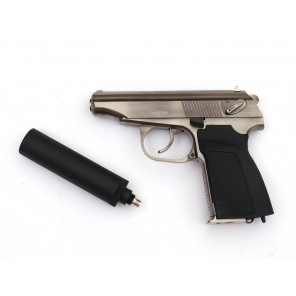 WE Metal MAKAROV GBB Pistol with Silencer ( SV,  RN Marking)