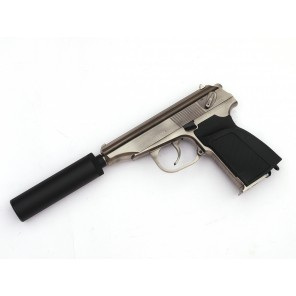 WE Metal MAKAROV GBB Pistol with Silencer ( SV,  RN Marking)